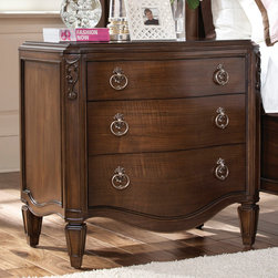 """American Drew - American Drew Jessica McClintock Nightstand w/ Wood Top in Mink - Welcome to the Jessica McClintock Home, by American Drew. This Collection combines the romantic elements of Jessica into a """"New Traditional"""" styling. This collection truly captures the past, present and future together. The combination of materials such as fine veneers, marble, leather and mirror, the dramatic serpentine and bowed shapes, he use of elements from fashion and nature, and the custom, jewelry-like hardware all add a unique flare to this collection that is like nothing before. This Collection is crafted from highly figured Walnut Veneers, Prima Vera and Maple Marquetry in a Mink finish. A Silver Leaf finish is offered on select pieces, giving them a soft, veiled-platinum appearance. Unique pieces abound in Jessica McClintock Home. The Antiqued Mirror Leg Dining Table, the Silver Leafed Leather Bed with Crystal-like buttons, the Dressing Armoire and Silver Leaf Serpentine Chest all create beautiful focal points in every room of your home. Gracious scaled items, eclectic mixture of materials and designs and the romantic touch of Jessica come together to create a collection of furniture that will add a high end style to any home. - 908-420.  Product features: Belongs to Jessica McClintock Collection by American Drew; Nightstand; 3 Drawers; Wood Top; Vintage-style gold-tone pulls; Scalloped bottom apron and sides; Geometrically shaped; Tapered legs; Walnut veneers and maple; Old World charm and romantic Victorian design aesthetics; Traditional Style; Mink Finish. Product includes: Nightstand (1). Nightstand w/ Wood Top in Mink belongs to Jessica McClintock Couture Collection by American Drew."""