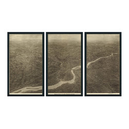 """Christopher David - Philadelphia Artifact Map, 3-Panel Mural, Grey Metal Frame - Material: Wood or metal, glass Finish: Matte black wood or industrial grey metal Dimensions: 63""""W X 37""""H (approximate size of entire mural, without frame spacing)"""