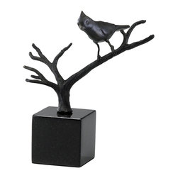 Cyan Design - Cyan Design Bird on Branches Sculpture X-68220 - A beautiful bird sits, poised and ready on the branch in this Cyan Design sculpture. Bird on Branches features a branch that stems outward from a simple cubic base, which is made from dark toned granite. An iron body and Old World finish give it a polished finished look.