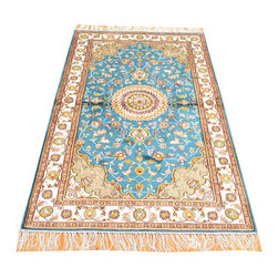 Oriental Carpet, 3'x5' Tabriz Silken 250 KPSI Sky Blue Hand Knotted Rug SH7318 - Hand Knotted Silk Rugs are second to none when it comes to quality.  Silk fibers are much thinner allowing our weavers to maximum the knots per square inch in a rug.  This will escalate the labor as well as material in the rug.  These traits along with the cost of silk make hand knotted silk rugs some of the most expensive rugs in the world.