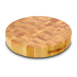 """Catskill Craftsmen - Catskill 17"""" Round Slab Reversible Chopping Block - Finger Slots - Round, sturdy, end grain style chopping block features finger slots for easy handling. Reversible so you can chop on both sides. 3 inches thick. Model 13177."""