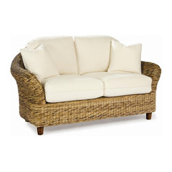 Wicker Paradise - Tangiers Seagrass Loveseat - Sunbrella Natural Cushions - This tropical style loveseat is woven with premium seagrass and built on a hardwood frame. The curved lines, wonderful texture and warm honey color invite you and your guests to relax in style. Maintenance-free Sunbrella cushions add comfort and flair to your home.