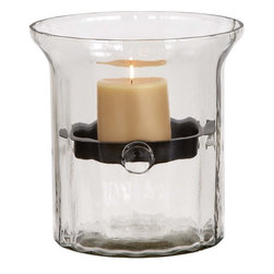Benzara - Glass Metal Candle Holder Clear Glass Case - Tone down your home decor from snazzy and sophisticated to more cozy and mellow with this Metal Candle Holder in a Clear Glass Case. You can create the perfect ambience for a warm romantic date by placing a lighted candle inside this candelabrum. With a metal candle holder affixed midway through the glass case's inside, the candle almost seems to float in mid-air creating a dreamy, mystic environment for heartfelt conversations. The clear glass case ensures that your hands don't burn when touching it, and also allows maximum transmission of light for a bright glow. This elegant candle holder comes with a wide base that ensures that it does not topple over, while its glass casing protects your hands or any other surface on which it is placed from molten wax. It is a perfect birthday gift too.