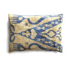 Silk Velvet Ikat Pillows - Ikats are vibrant textiles hand dyed and handwoven. They have been made for centuries along the Silk Road in Central Asia and used to make amazing clothes often representative as a symbol of status. What better way to increase your status then with one of these gorgeous and silky soft pillows to lean on!