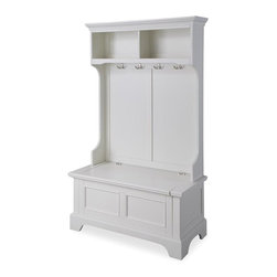 HomeStyles - Hall Tree in White Finish - Two open storage shelves. Four double storage hooks. Lift-top storage compartment. Provides ample storage and organization. Made from poplar solids, engineered wood, Asian hardwoods and veneers. Minimal assembly required. 40 in. W x 18.5 in. D x 64 in. HMake it a perfect stylish, yet functional, organization piece for any mud room or entry way.