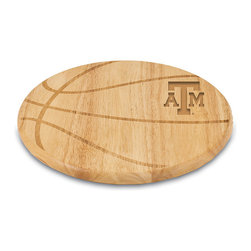 Picnic Time - Texas A&M Aggies Free Throw Cutting Board - Made of eco-friendly rubberwood, this cutting board will be a slam dunk in the kitchen. The attractive design can double-team as a serving platter with its 104 square inches of carrying potential.   0.75'' H x 12.5'' diameter Rubberwood Wipe clean Imported