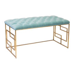 """Worlds Away - Worlds Away Devin Gold Leafed Bench Seafoam Tufted Top - Chic with intriguing square embellishments along the legs, the gold Worlds Away Devin bench stands boldly with modern allure. Its seafoam green tufted cushion delivers an unexpected traditional twist, topping the seat with classic style. 40""""W x 18""""D x 22""""H; Hammered umber gold leaf; Iron; Fixed velvet cushion"""
