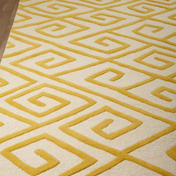 "Global Views - Global Views ""Greek-Key Maze"" Rug, 5' x 8' - The marriage of two motifs, this rug features a Greek-key pattern converted to a maze motif to add vibrant color and intriguing texture under foot. Hand tufted of wool. Jute backing. Sizes are approximate. Imported. See our Rug Guide for tips o..."