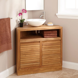 """34"""" Cuyama Teak Corner Vanity - Suitable for a small or challenging bathroom, the 34"""" Cuyama Teak Vanity fits perfectly into a corner space."""