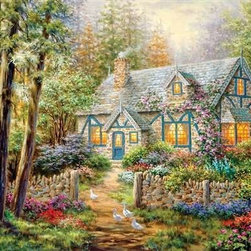 """Cottage Hideaway Puzzle - 500 Piece Jigsaw PuzzleDreamy textures and soft colors wait nestled in the woods, beckoning you to sit and stay a while. From 500 pieces and a whisper of difficulty, to charming ducks and warm, glowing windows, this cottage has """"cozy fun"""" written all over it."""