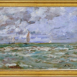"""Eugene-Louis Boudin-16""""x24"""" Framed Canvas - 16"""" x 24"""" Eugene-Louis Boudin Standing off Deauville framed premium canvas print reproduced to meet museum quality standards. Our museum quality canvas prints are produced using high-precision print technology for a more accurate reproduction printed on high quality canvas with fade-resistant, archival inks. Our progressive business model allows us to offer works of art to you at the best wholesale pricing, significantly less than art gallery prices, affordable to all. This artwork is hand stretched onto wooden stretcher bars, then mounted into our 3"""" wide gold finish frame with black panel by one of our expert framers. Our framed canvas print comes with hardware, ready to hang on your wall.  We present a comprehensive collection of exceptional canvas art reproductions by Eugene-Louis Boudin."""