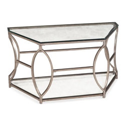 Magnussen Furniture - Nevelson Demilune Sofa Table - All pieces constructed from metal and glass . All pieces feature metal frame and base. All pieces feature 10mm clear tempered glass with 1in. bevel for top. All pieces feature 5mm clear tempered glass for bottom shelf. Antique Silver Finish. 10mm clear tempered glass with bevel, 5mm clear tempered glass w/o bevel, square metal tubing base. Antique Silver Finish. 1 Year Limited Warranty. 50 in. W x 19 in. D x 29 in. H (68 lbs.)Be moved by our Nevelson table collection. Curved silver corners and angle-cut beveled glass, all weighted and structured as if supporting some grand metropolitan conservatory. In striking antique silver, with clear tempered glass.