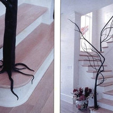 Eclectic Staircase organic tree banister