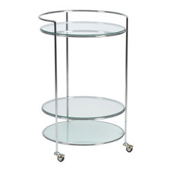 Ginny Bar Accent Table - What's better than a fully stocked bar? A fully stocked bar . . . on wheels. This cart's semicircular guardrail and wheels showcase its functionality, while its frosted and clear tempered glass shelves and attractive chromed steel frame firmly root its design in contemporary retro chic.