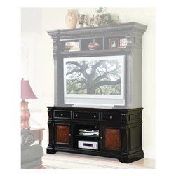 """Hooker Furniture - Telluride Entertainment Console - White glove, in-home delivery included!  Furniture assembly included!  Entertainment Console only.  Hutch sold separately.  Telluride is featured in hardwood solids and veneers with a black paint finish with rub-through and physical distressing with carved leather panels and nailhead trim for rich masculine looking entertainment center furniture.  Two wraparound outside doors with one adjustable shelf behind each, open center section with one adjustable shelf, two outside drawers with removable CD/DVD partitions, center drawer with drop-front, ventilation holes, three electrical outlets, levelers.  Finished top.  When used alone, console accommodates most 60"""" monitors.  When used with Hutch, accommodates most 50"""" and some 60"""" monitors.  Center Drawer: 22 1/4"""" w x 18 1/2"""" d x 5"""" h  Side Drawers: 16"""" w x 18 1/2"""" d x 5"""" h  Center adjustable shelf: 24 1/8"""" w x 19 1/8"""" d  Door Opening: 20 1/2"""" w x 20"""" d x 19 1/2"""" h"""