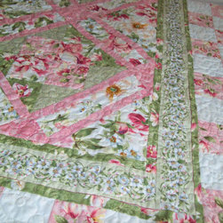 Peony Garden Quilt Twin Size by Pamela Quilts - This would look great thrown casually over the back of a sofa or displayed on a wall hanger. I love its beautiful, feminine feel.