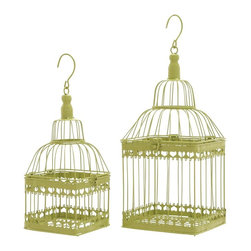 Benzara - Bird Cage with Unique and Solid Design - Set of 2 - Express your love to your birds along with adding color to your living room or entertainment area with this lovely lime green color bird cage. Place your birds in this rectangular bird cage which is designed with ample space to move around freely. You birds will absolutely love the space and unique design. It is stylized with intricate cut-out pattern all around the cage. Place a foil or tray at the base of the cage to avoid littering. Its unique and sturdy design is easy to clean and bird-friendly and the light weight makes it easy to move around. This cage will provide your birds with a lovely environment to keep them healthy and happy at all times.