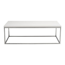 Eurostyle - Teresa Rectangular Coffee Table, White/Stainless - Are clean, classic lines your style of choice? This elegant coffee table will fit right in. The smooth lines of the chromed steel base work beautifully with the lacquered top to create a design adored by minimalists like you.