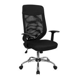 Flash Furniture - Hercules Foam Padded Seat Mesh Chair w Headre - Mesh back. Black nylon headrest. Black mesh over foam padded seat. Black nylon T arms. Pneumatic seat height adjustment. Locking tilt control mechanism. Tilt tension control. Chrome base. Dual wheel casters. Warranty: 2 year limited. Assembly required. Back: 19 in. W x 25.25 in. H. Seat: 19.5 in. W x 20 in. D. Seat Height: 17.25 - 20.25 in.. Arm Height from Seat: 7 in.. Overall: 23.75 in. W x 23 in. D x 42.25 - 45.25 in. H (34 lbs.)