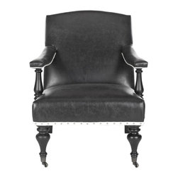 Safavieh - Devona Arm Chair - Antique Black - A modern take on a country English piece, the Devona arm chair features the classic sensuously curved back and open upholstered arms for a light, airy feel. Antique Black fabric in a viscose blend is accented with white dressmaker tape and silver nailheads for a fresh new look. Turned birch wood arm supports and black bun feet on casters recall antique chairs in a country manor.
