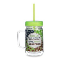 Formations Brands Llc - Four Seasons 22-Ounce Acrylic Mason Jar with Lid & Straw - This brightly styled double wall glass is durable and designed for everyday use. Keeps beverages hot and cold longer and reduces exterior condensation.