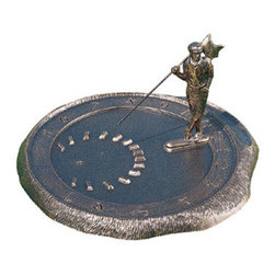 French Bronze Golfer Sundial - Has he lost his ball or is he just waiting for a birdie?  Help this French Bronze Golfer Sundial find his way to your house.  In return, he'll give you the time when it's sunny outside.  Meticulous details, featuring our fearless golfer holding a flag with old-fashioned knickers and handsomely crafted raised numbers and details.  Your favorite golfer hasn't received this gift yet, but he's sure to love it!
