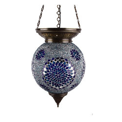 Art-Win Lighting P10025 Handmade Mosaic Pendant, Blue - Handmade in Istanbul, Turkey. Hand-crafted item is produced with glass-on-glass technique. Tradition of centuries is now available for you. Fine handmade mosaic lamps that require years of experience and specialized craftsmanship are carefully manufactured by Art-Win Lighting.