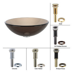 Kraus - Kraus Clear Brown Glass Vessel Sink with PU-MR Satin Nickel - *Fashionable bathroom sink is the perfect harmony of elegance and style