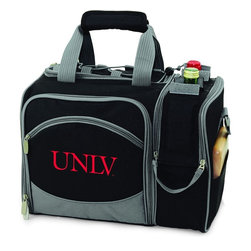 Picnic Time - Unievrsity of Nevada Las Vegas Malibu Picnic Pack in Black - Insulated pack with picnic service for 2 made of 600D polyester canvas. The elegant and unique Malibu shoulder pack is perfect for picnics, concerts, or travel. This tote has an integrated wine storage section and a spacious food storage section with removable liner. The adjustable shoulder strap makes it easy to carry. A wonderful gift idea.; College Name: Unievrsity of Nevada Las Vegas; Mascot: Rebels; Decoration: Digital Print; Includes: 2 Wine glasses (acrylic), 2 Napkins (cotton 14 x 14 in.), 1 Corkscrew (waiter style stainless steel), 1 Cutting board (wood 6 x 6 in.), 1 Cheese knife (stainless steel w/wood handle), 2 Plates (melamine 9 in.), 2 Ea. Knives forks & spoons (stainless steel), 2 Napkins (cotton 14 x 14 in.)