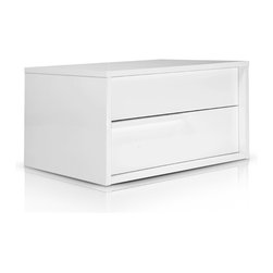 MODLOFT - Jane Nightstand - The Jane double-drawer nightstand features a sleek design accentuated by thin handgrips.