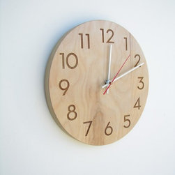 Modern Wood Wall Clock by Uncommon Handmade - The sleek face of this handmade birch clock makes it a fun addition to any space, especially an office or a kitchen.
