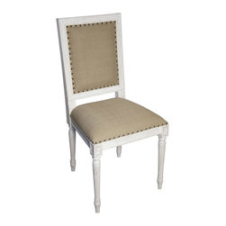 """Noir - Noir Regency White Wash Side Chair - Featuring natural, simple and classic designs, Noir products supply a timeless complement to a variety of interiors. The Ribcage chair is named for the exposed wooden frame that brings a contemporary sensibility to its classic design. Crafted from waxed elm, its turned front legs offset the straight lines and smooth curves of this domed seat. Decorative nailhead trim and button tufting add a classic look to the arm chair's off-white cotton/linen upholstery. 30""""W x 27.5""""D x 60""""H."""