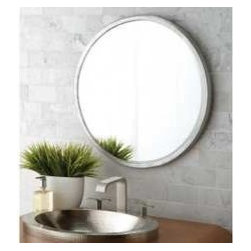 KCK Bathroom Mirrors & Accessories - Divinity Round Mirror - Made of hammered aluminum with inset beveled glass, Divinity offers just the right touch of glimmer and textual interest; simply divine paired with Native Trails Brushed Nickel lavatory sinks and any Renewal Series bamboo vanity.
