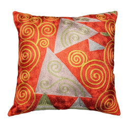"""Modern Silk - Klimt Accent Pillow Cover Tree of Life Red Hand Embroidered 18"""" x 18"""" - This stunning embroidered piece shows elements of the Gustav Klimt's famous painting, 'Tree of Life.' The Tree of Life motif is beloved the world over, and for the Kashmiri artisan, it is one of the original designs worked by 15th century Kashmiri handcrafters. The motif is rendered in vibrant, triangular blocks of color, each in contrast,  echoing Klimt's love of the imperfect line. The background chain-stitched whorls make a nice meta-motif to the Tree of Life spirals. The central, brilliant reds in this art silk pillow cover is sure to catch everyone's eye. Be bold! Dare to accent a room with reds."""