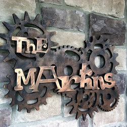 Address Plaques - A whimsical steampunk family name sign