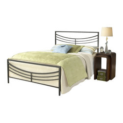 Hillsdale Furniture - Hillsdale Kingston Panel Bed - Queen - Hillsdale Furniture's contemporary Kingston bed features a perfectly angular silhouette softened by a concave arced design. Finished in brown, this bed is constructed from a sturdy heavy gauge tubular steel. Some assembly required.