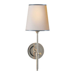 "Bryant Sconce - By Thomas O'Brien. Dimensions: 14 1/4""H x 5 1/2""W. Available in 6 finishes and shade styles."