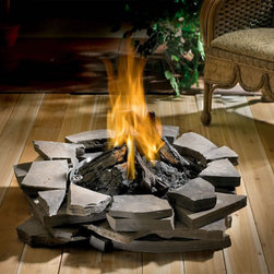 "WOLF STEEL LTD (CORE) - GPFP Outdoor Patioflame, LP - *boldthis*- Stainless steel ""bowl"" - 5-piece patented Glocast gas log set - Natural gas or LP - Approved for wooden decks, stone or brick patios, & concrete - 5-year limited warranty*endboldthis*"