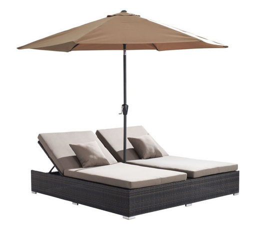 ZUO - Atlantic Double Chaise Lounge - Bring the white sand of the Caribbean to your backyard. Sleek yet cozy, the Atlantic Double Sun Lounge boasts two reclining loungers shaded from the pseudo-tropical sun by a light canvas umbrella. Your patio just got 100% more inviting.