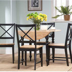 """TMS - Virginia 5 Piece Dining Set - Dining Set Features: -5 piece dining set includes a round table and 4 chairs. -Virginia collection. -Constructed from sturdy rubber wood. -Drop leaf table top. -Chairs feature cross back design. -Turned table legs. -Shaker chair legs. -Chairs packed 2 per carton. -Table Dimensions: 29"""" H x 40"""" W x 40"""" D (with two drop leaves extended). -Chair Dimensions: 35.25"""" H x 20"""" W x 16.75"""" D."""