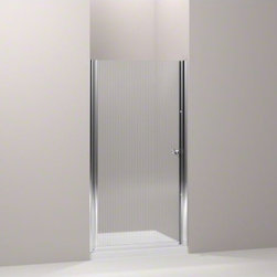 """KOHLER - KOHLER Fluence(R) pivot shower door, 65-1/2"""" H x 33-3/4 - 35-1/4"""" W, with 1/4"""" t - With a frameless, versatile design and a Falling Lines glass pattern, the Fluence pivot shower door adds contemporary style to your shower. The door allows 1-1/2-inch adjustability for out-of-plumb installations and can be installed to open to the left or right to fit the layout of your room."""