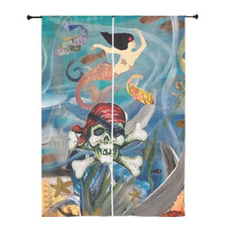 "xmarc - Mermaid Art Sheer Curtains, 30"" X 84"", Pirate Mermaid - The windows have it with these sheer, beach decorative curtains. Romantic and flowing, these elegant chiffon window treatments finish a room with the perfect statement."