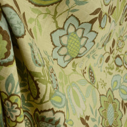 Richloom - Jayda Bramble Blue Green Brown Beige Drapery Fabric By The Yard - From Richloom, Jayda Bramble has a beautiful Jacobean floral pattern printed in teal, aqua, brown and green.  Use this fabric for draperies, bedding, pillows and more.
