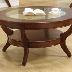 Homelegance - Avalon Round Cocktail Table - Transitional style. Elegant design. Streamlined bowed fronts. Glass insert. Made from maple veneer with select hardwood. Cherry low sheen finish. 40 in. Dia. x 20 in. H