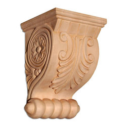 """Inviting Home - Acanthus Small Wood Bracket - Red Oak - wood bracket in red oak 7-5/8""""H x 3-3/4""""W x 3-7/8""""D Corbels and wood brackets are hand carved by skilled craftsman in deep relief. They are made from premium selected North American hardwoods such as alder beech cherry hard maple red oak and white oak. Corbels and wood brackets are also available in multiple sizes to fit your needs. All are triple sanded and ready to accept stain or paint and come with metal inserts installed on the back for easy installation. Corbels and wood brackets are perfect for additional support to countertops shelves and fireplace mantels as well as trim work and furniture applications."""