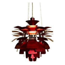 "LexMod - Petal 19"" Chandelier in Red - Petal 19"" Chandelier in Red - Elevate the heart and uplift the mind in a liberated release of light. The Petal Lamp is a study in perception stemming from the inner recesses of the soul. Reflect limitless possibilities and shower abundance as you diffuse light pleasantly with a striking classic for all times and settings. Set Includes: One - Petal 19"" Chandelier For home or commercial use, Brushed aluminum petals, Light source hidden at center , Diffusion of light without glare, Cords adjustable to varied lengths , One 60 watt light bulb (Not Included) Overall Product Dimensions: 19""L x 19""W x 19.5""H Maximum Cord length: 60""L - Mid Century Modern Furniture."