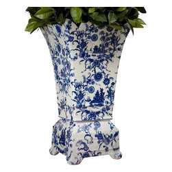 """Dessau Home - Porcelain Vase in Blue and White - Made from porcelain. 21 in. HValue has always been an essential ingredient at Dessau Home. """"Essentials"""" represents a collection of well-appointed yet affordable home furnishings with a unique traditional styling that appeals to most transitional and contemporary home decorating needs."""