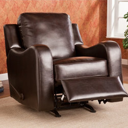 Upton Home - Upton Home Monticello Chocolate Rocker Recliner - This Upton Home Monticello chocolate rocker/ recliner features beautiful chocolate bonded leather and a comfortable design for easy lounging. This lovely reclining chair complements homes with transitional to modern d�cor.