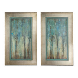 Uttermost - Uttermost Whispering Wind 35x21 Rectangular Framed Art (Set of 2) - These Oil Reproductions Feature a Hand Applied Dabb Finish. Frames Have a Silver Leaf Base with Heavy Champagne Wash and Edges are Lightly Distressed and Accented with a Warm Sephia Tone. Inner Lip Has a Muted Aqua Blue Base with Heavy Charcoal Glaze.