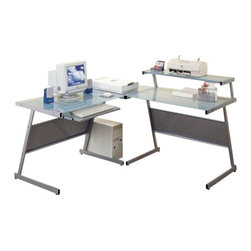 """Coaster - 3Pc Desk Set (Silver) By Coaster - Includes computer desk, wedge and desk with shelf. Casual style. Clean define edges. Convenient keyboard tray. Frosted glass desk top. Silver metal frame. 60.5 """" W x 60.5 """" D x 37.5 """" H.  With casual sleek designs, obtain an organized office space with this L-shape computer desk. Create a study that is attractive and professional and add additional storage by arranging this piece with the coordinating computer table."""